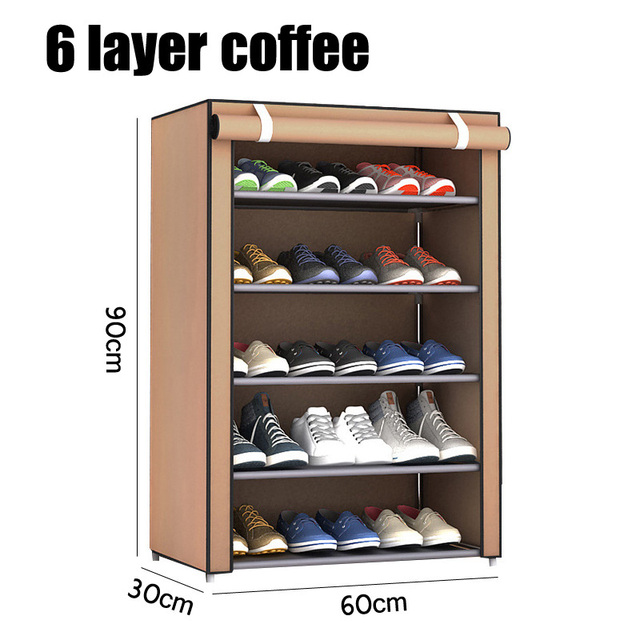 3/4/5/6 Layer Stainless Steel Shoes Shelf Easy Assembled Shoe Rack Cabinet Shoes Organizer Stand Holder Keep Home Neat Shoe Box