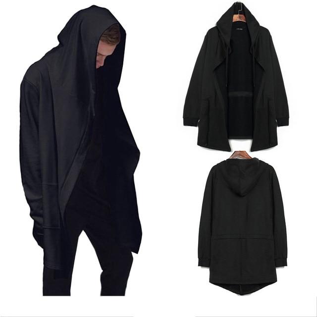 4041e4d9303a Roma Autunno lungo mantello mago del capo maschio giacca con cappuccio No  fibbia sciolto Cardigan nero