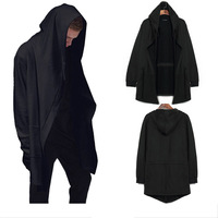 Rome Autumn Long Cloak Wizard Cape Male Hooded Jacket No Buckle Loose Black Cardigan Hip Hop