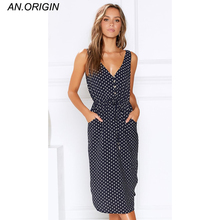NEW Summer Fashion Women Dress Vintage Sexy Bohemian Floral Long Top Dress Dress Polka Dot V-neck Dress Sleeveless Tank 2019 plus size polka dot floral tunic tank top
