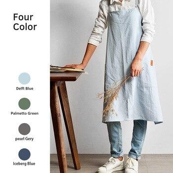 4fd9490051f91 New Nordic wind Adult unisex cotton linen apron bib Coffee shops