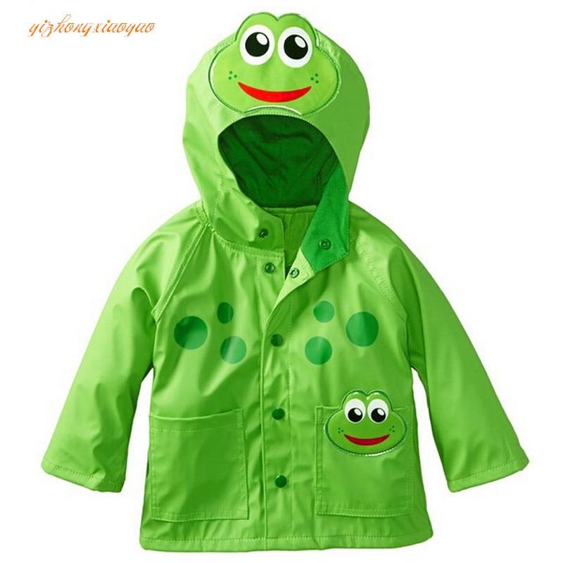 2016 nuovo 6 colori Neonate maschi cappotto giacca vento e pioggia in primavera e in autunno carino cartone stampa bambini Capispalla abbigliamento