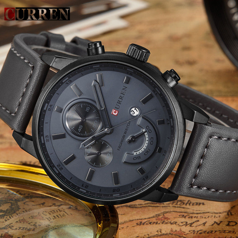 Top CURREN New Genuine Leather Watch Men Luxury Brand Quartz Watch Analog Display Date Casual Watch Men Watches relogio feminino classic simple star women watch men top famous luxury brand quartz watch leather student watches for loves relogio feminino