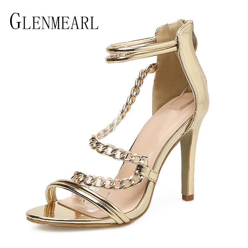Sexy Women Sandals High Heels Shoes Summer Gold Ankle Strap Shoes Woman Thin Heels Peep Toe Brand Party Shoes Female Plus Size45 2018new style summer high heels peep toe pumps fashion ankle strap club party shoes woman sexy peep toe platform shoe women