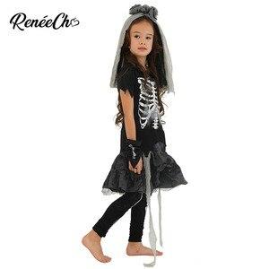 Image 3 - Trajes de halloween para crianças vestidos de fantasia meninas esqueleto traje da noiva criança ossos traje menina fantasma preto vampiro cosplay
