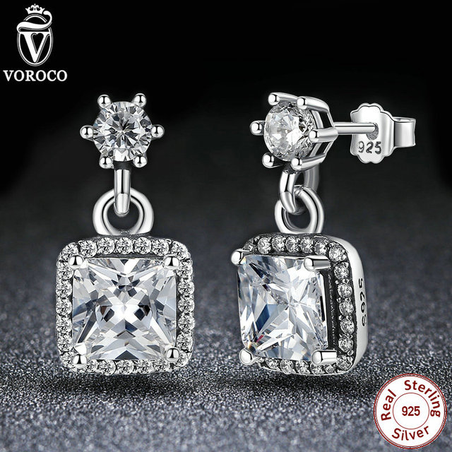 VOROCO 100% 925 Sterling Silver Asscher & Round Cut Timeless Elegance, Clear CZ Stud Earrings Wedding Fashion Jewelry S459