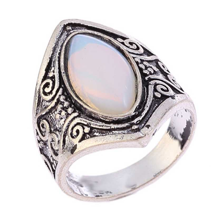 Vintage เงินเงินหินแหวนแฟชั่นผู้หญิง Bohemian Boho เครื่องประดับใหม่ร้อนโบราณสังกะสีอัลลอยด์รูปไข่มูนสโตนผู้หญิง Rin