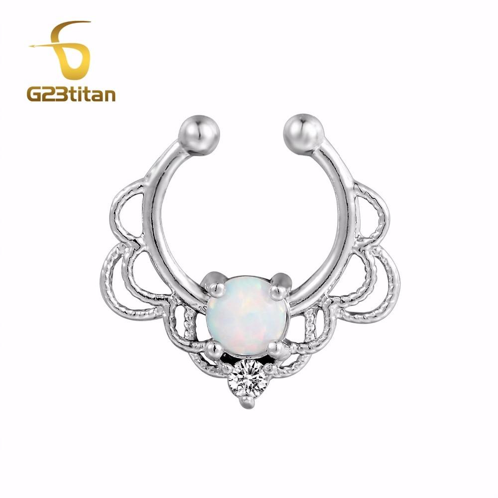 G23titan опал Поддельные кольца для носа серебряный цвет кристалл перегородка для носа кольцо без пирсинга ювелирные изделия для тела Прямая п...