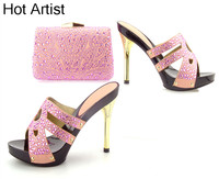 Hot Artist New Luxury Rhinestones European Women Shoes And Bag Set Fashion Slipper High Heels Shoes