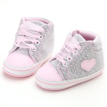 Infant Newborn Baby Girls Polka Dots Heart Autumn Lace-Up First Walkers Sneakers