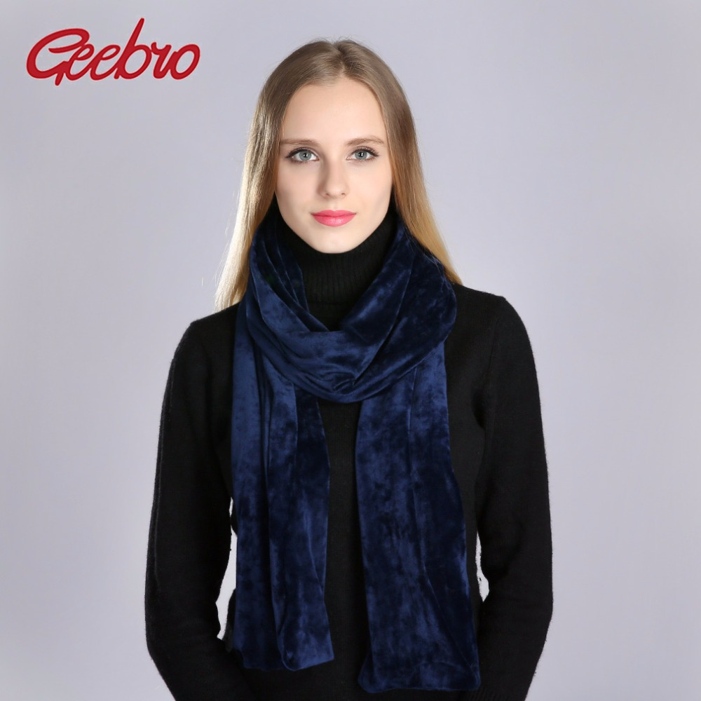 Geebro Women's Velour Scarf Winter Casual Warm Velvet Scarf Beanie For Ladies Plain Color Classic Neckerchief Shawls And Scarves
