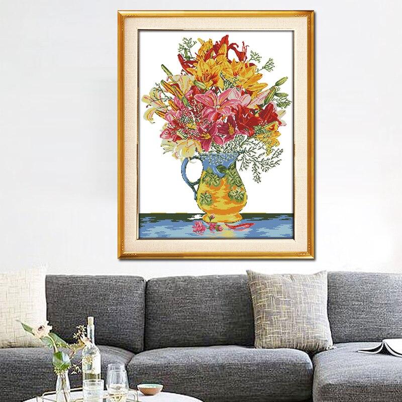 Joy Sunday,Blossom,cross stitch embroidery set,printing cloth embroidery kit,cross stitch needlework,Flower picture cross stitch (5)