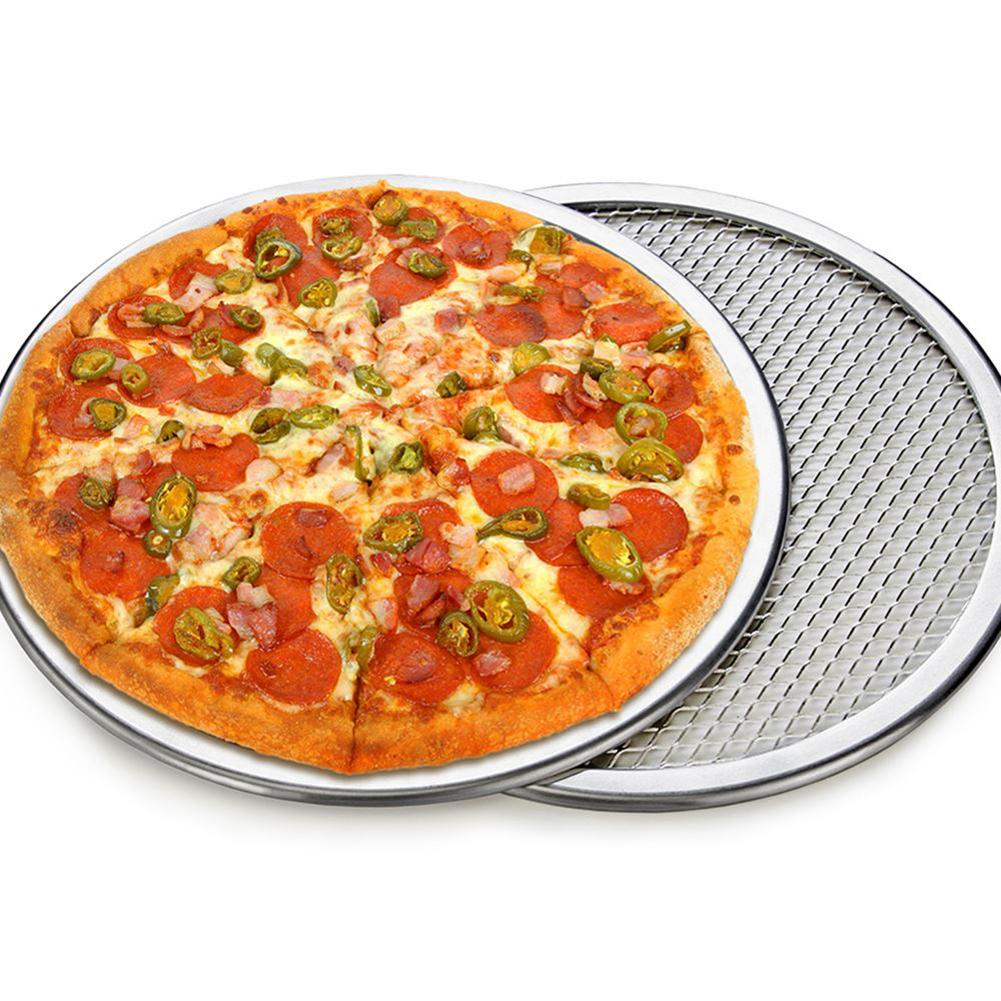 6-22inch Seamless Aluminum Pizza Screen Baking Tray Metal Round Baking Tray Net Kitchen Tools Pizza Pans Cooking
