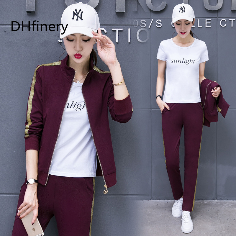 DHfinery Set female spring and autumn fashion Korean long sleeved large size thin sweater casual wear