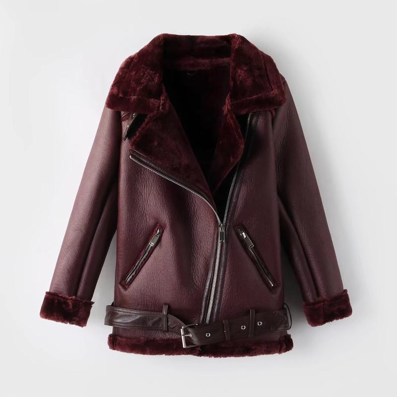 Casual Winter Thick Women Coat Faux   Leather   Wool Female Jacket Solid Color Turn-down Collar Lady Outside Top