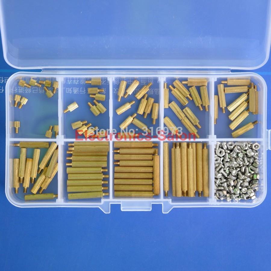 M2 Brass Standoff / Screw / Nut Assortment Kit, Male-Female. mtgather 270pcs set m2 3 25mm male to female brass pcb standoff screw nut assortment kit set hot sale