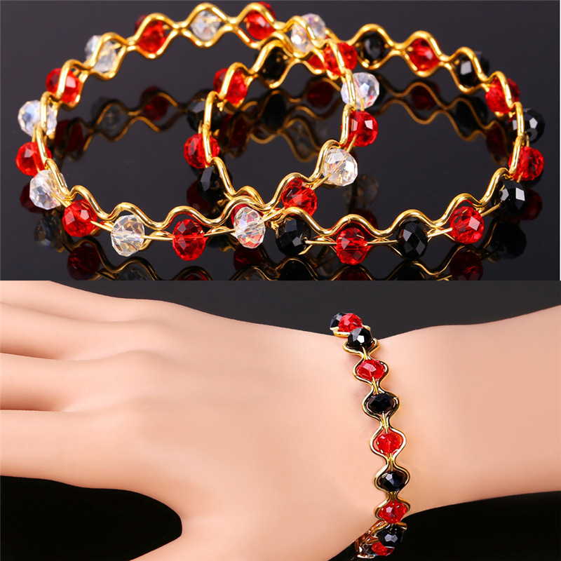 Collare Fashion Crystal Bracelets For Women Jewelry Gold Color 2 Colors  Options Beads Bracelets Bangle For Women H202-in Bangles from Jewelry    Accessories ... 364c39af63