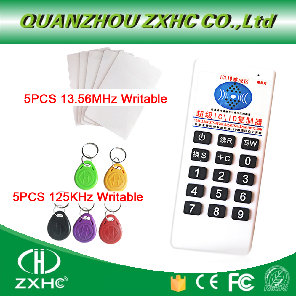 RFID 125khz ID 13.56mhz IC Copier Reader Writer for EM4305 T5577 UID Changeable Tag 5pcs ic id uid 13 56mhz changeable writable rewritable composite key tags keyfob dual chip frequency rfid 125khz t5577 em4305