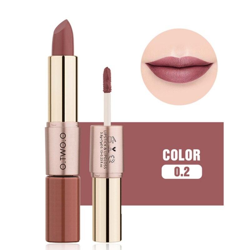 O TWO O 2 in 1 Matte Lipstick Lips Makeup Cosmetics Waterproof Pintalabios Batom Mate Lip