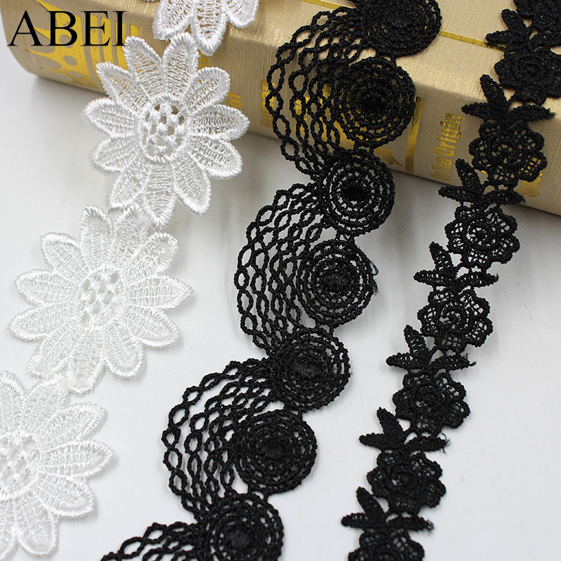 5yards/lot Water Soluble Garment Lace Trims White Black Embroidery Lace Ribbon DIY Handmade Sofa Hometexile Edge Wraping Tape