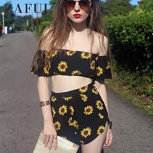f1f8a0ff496a ZAFUL Casual 2 Two Piece Set Women Sunflower Print Summer Off the Shoulder Crop  Top Shorts Zipper 2018 Beachwear Women Set
