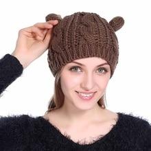 Winter Cat Ear Hat Beanie Hats Fur Warm Baggy Knitted Skullies Bonnet Adult  Cap New Arrival 046c727970d0