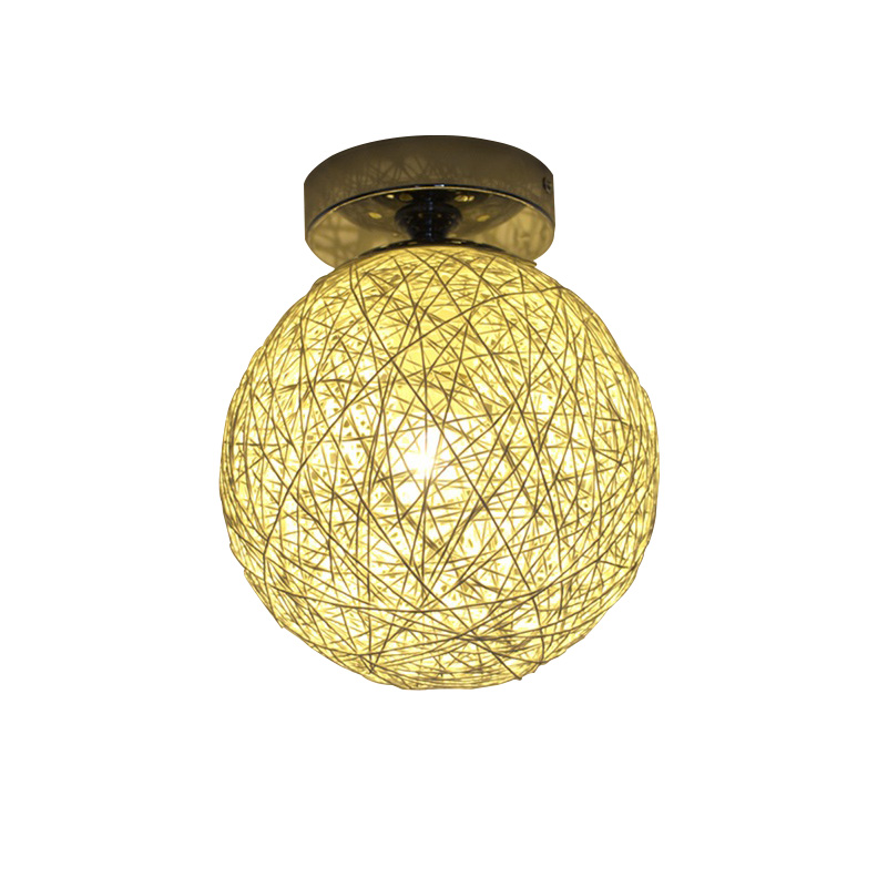 Modern Fashional DIY Handmde Wicker Work Ceiling lights E27 For Balcony Passageway Aisle Porch Bedroom Living