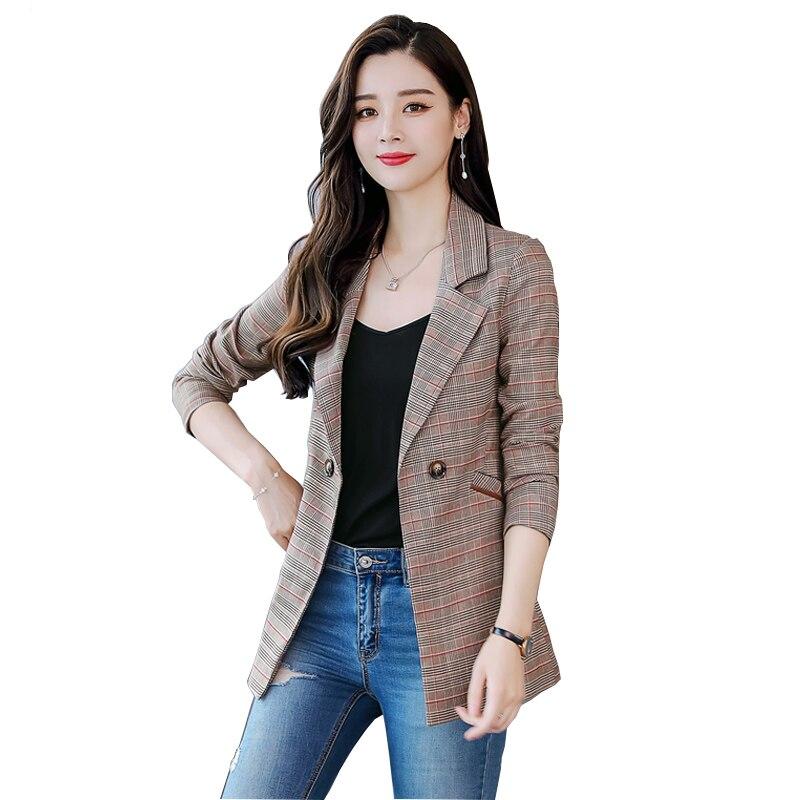 Fanmuer 2018 Frauen Plaid Kerb Kragen Tweed Blazer Zweireiher Taschen Quaste Saum Weibliche Lose Beiläufige Outwear Chic Tops Anzüge & Sets