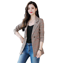 FANMUER 2018 women plaid notched collar tweed blazer double breasted pockets tas