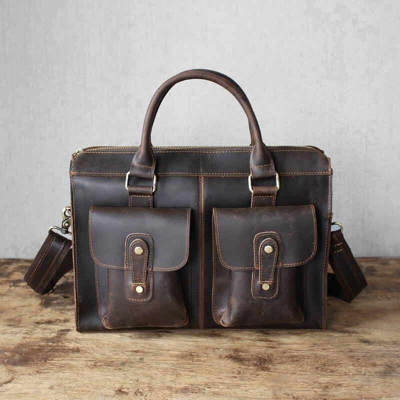 Men Shoulder Bags Vintage Genuine Leather Male Laptop Briefcase Bag Handbag Crazy Horse 13 Inch Cowhide Crossbody for Man Gift