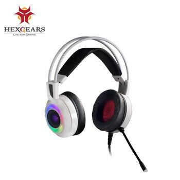 HEXGEARS GH102 7,1 estéreo RGB Luz de choque comentarios Gaming Auriculares USB PC teléfono Auriculares micrófono Gaming graves Auriculares