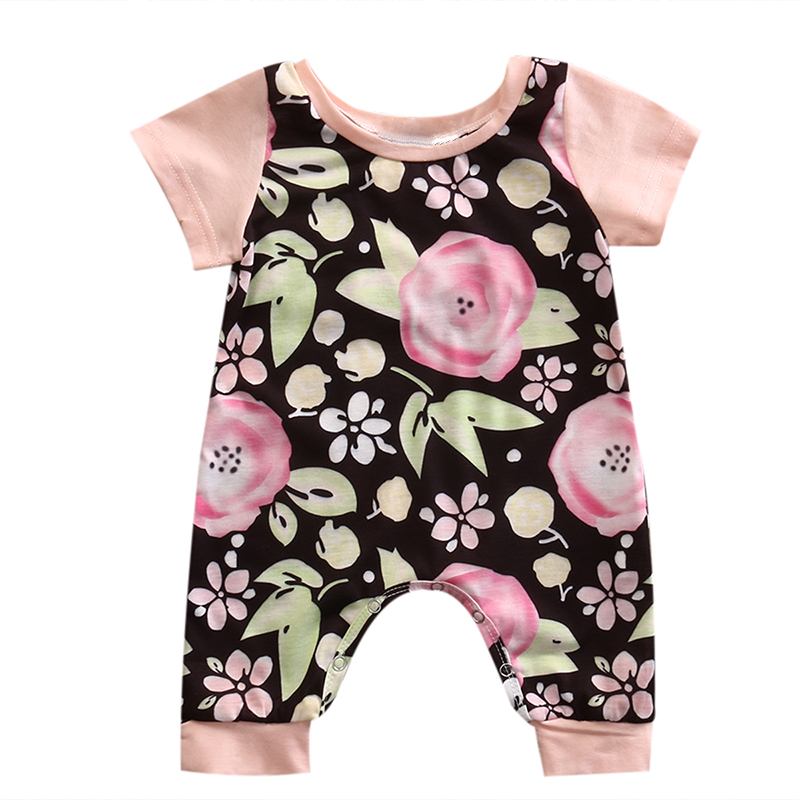 2017 Adorable Baby Rompers Newborn Baby Girls Floral Clothes O-Neck Short Sleeve Romper Kids Cotton Jumpsuit Infant Girls Outfit newborn baby rompers baby clothing 100% cotton infant jumpsuit ropa bebe long sleeve girl boys rompers costumes baby romper