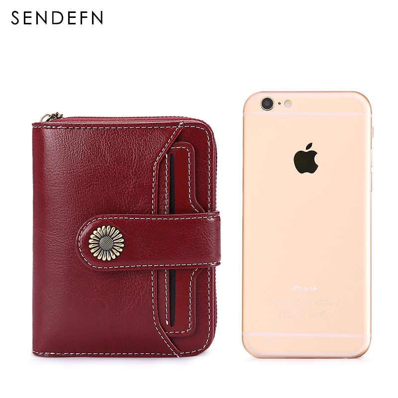 Sendefn tendência carteira feminina carteira curta carteira qualidade bolsa de moedas botão de qualidade flor ferragem 5185h-75