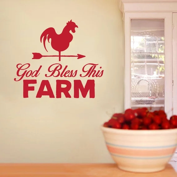 God Bless This Farm Quotes Wall Decal /Farmhouse Decor Rooster /Kitchen Dining Living Room /Removeable Vinyl Wall Sticker Decal image