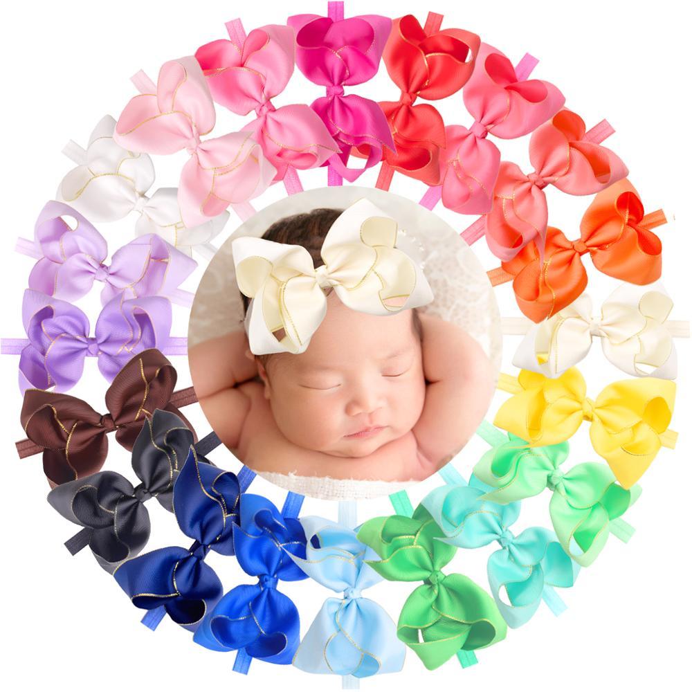 20 Colors Baby Girls Headbands 6 Inch Hair Bows Grosgrain Ribbon 6