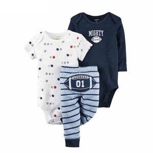 Image 2 - 3 pcs תינוק ילד ילדה כותנה בגדי סט ילדים בגד גוף תינוקות חמוד קריקטורה עגול צוואר Rompers ארוך שרוול מכנסיים 6 24Months