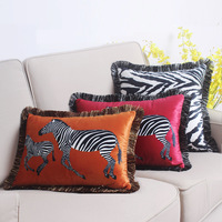 Home Decorative Sofa Throw Pillows Simple modern flannel printing zebra fringed lace pillowcase sofa cushion cover