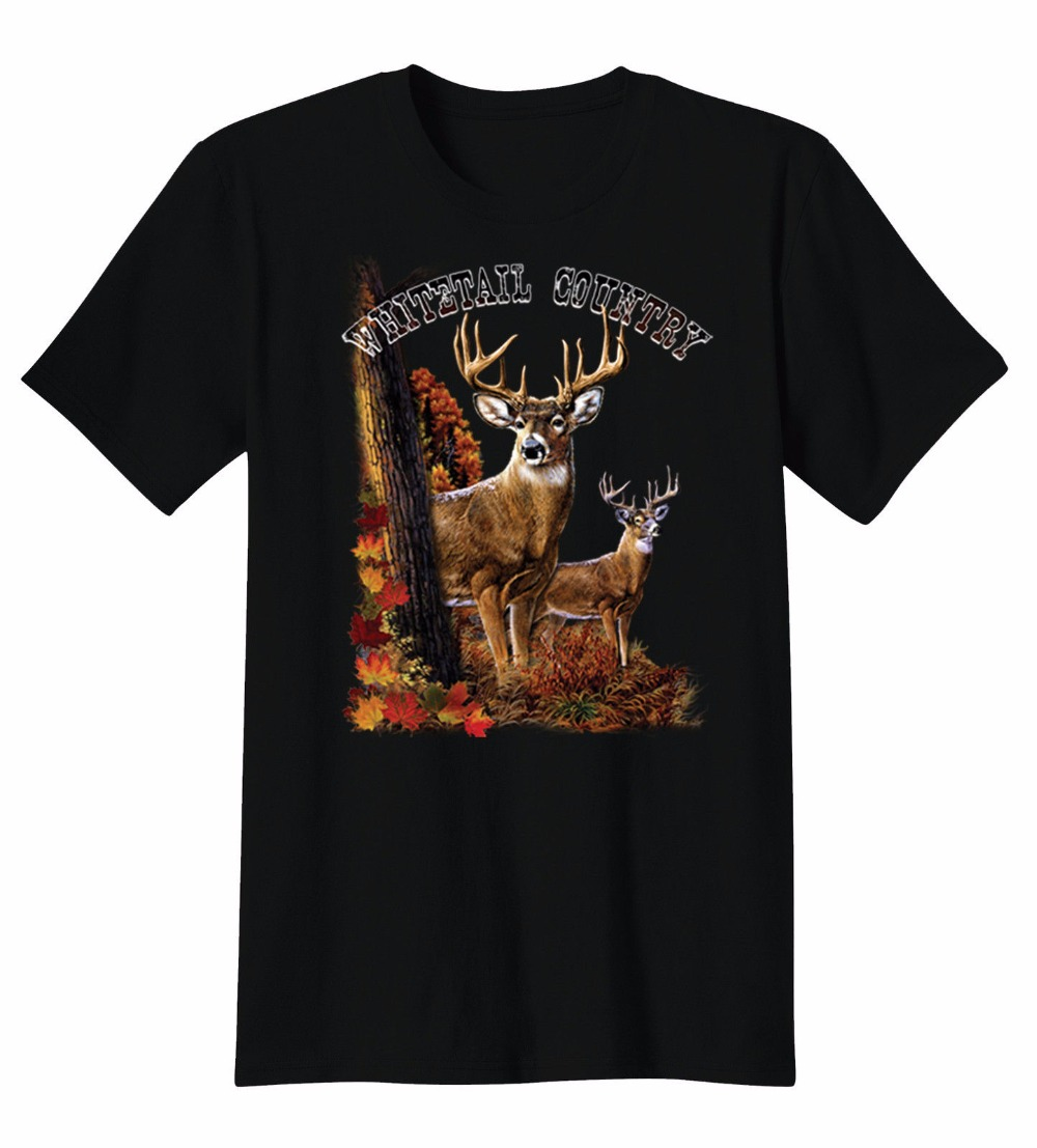 T Shirt Design Fashion 2018 Whitetail Country Deer Hunt Antlers Cool T-Shirt Tee O-Neck Short-Sleeve Tees For Men