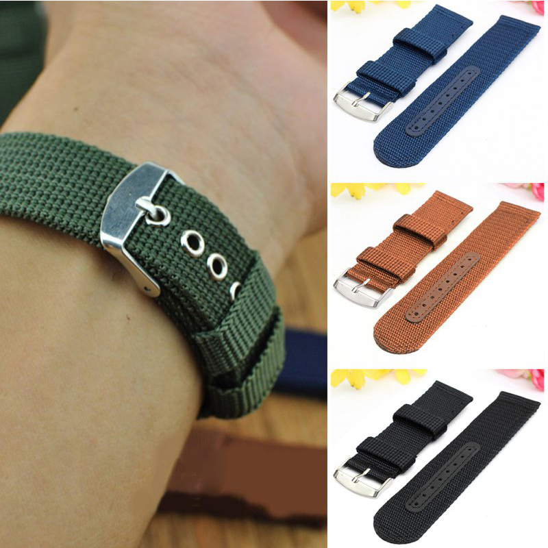 Nylon Watchbands Fashion Black Brown 20mm 22mm 24mm Womens Men Sport Watch Band Strap Stainless Steel Buckle Accessories цена