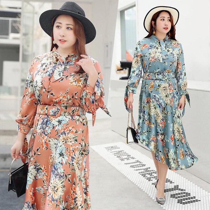 Vestidos Plus Size Vintage Dress Vestido Floral Satin Dresses for Women 4xl Sommerkleid Blue
