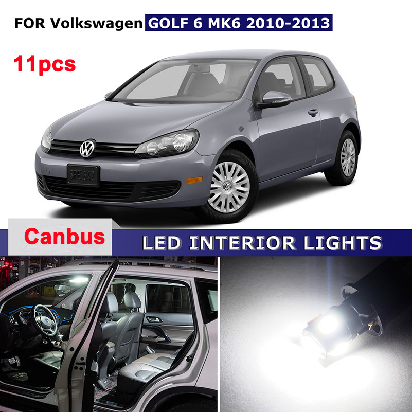 11PCS Canbus Car LED Interior Dome Map Glove Trunk Light Kit Package For VW Volkswagen Golf 6 MK6 2010 2011 2012 2013 car rear trunk security shield cargo cover for volkswagen vw golf 6 mk6 2008 09 2010 2011 2012 2013 high qualit auto accessories