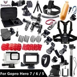 Akcesoria snowhu do Gopro zestaw do Gopro hero 7 6 5 wodoodporny ochronny futerał do montażu w klatce piersiowej Monopod do go pro hero 7 6 5 GS41 w Etui na kamery sportowe od Elektronika użytkowa na
