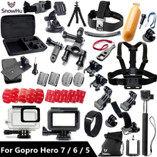 SnowHu for Gopro accessories set For Gopro hero 7 6 5 waterproof protective case chest mount Monopod for go pro HERO 7 6 5 GS41 зарядное устройство для аккумуляторов goodchoice gopro hero 5 6 7