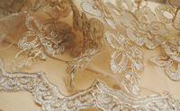 Gold Embroidered Lace Fabric Ivory Lace With Gold Flowers Bridal Lace Luxury Vintage Lace Fabric Sell