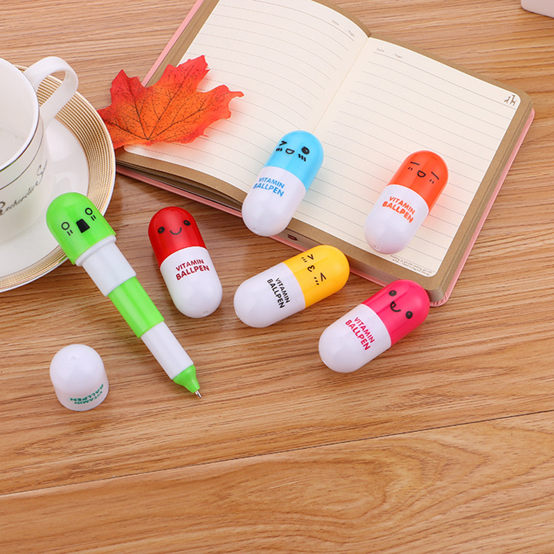 Kawaii Telescopic Ball pen Novelty Mini Ballpoint Pen Vitamin Capsule Pill Ballpen Office Accessories School Supplies Kids