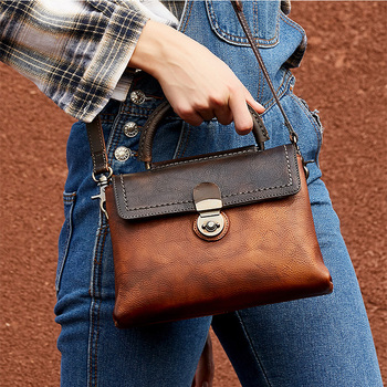 Fashion Genuine Leather Women Handbag Hasp Female Soft Crossbody Bag With Handle Interior Compartment Casual Lady Tote