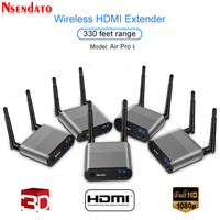 Measy Air Pro 4 100M/330FT 2.4GHz/5.8 GHz Wireless Wifi HDMI Audio Video Extender Transmitter 1 Sender 4 Receiver Kit With IR