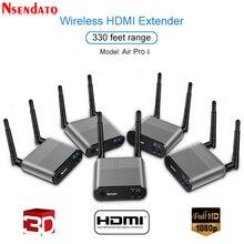 Measy hava Pro 4 100M/330FT 2.4GHz/5.8 GHz kablosuz Wifi HDMI ses Video genişletici verici 1 Sender 4 alıcı kiti ile IR