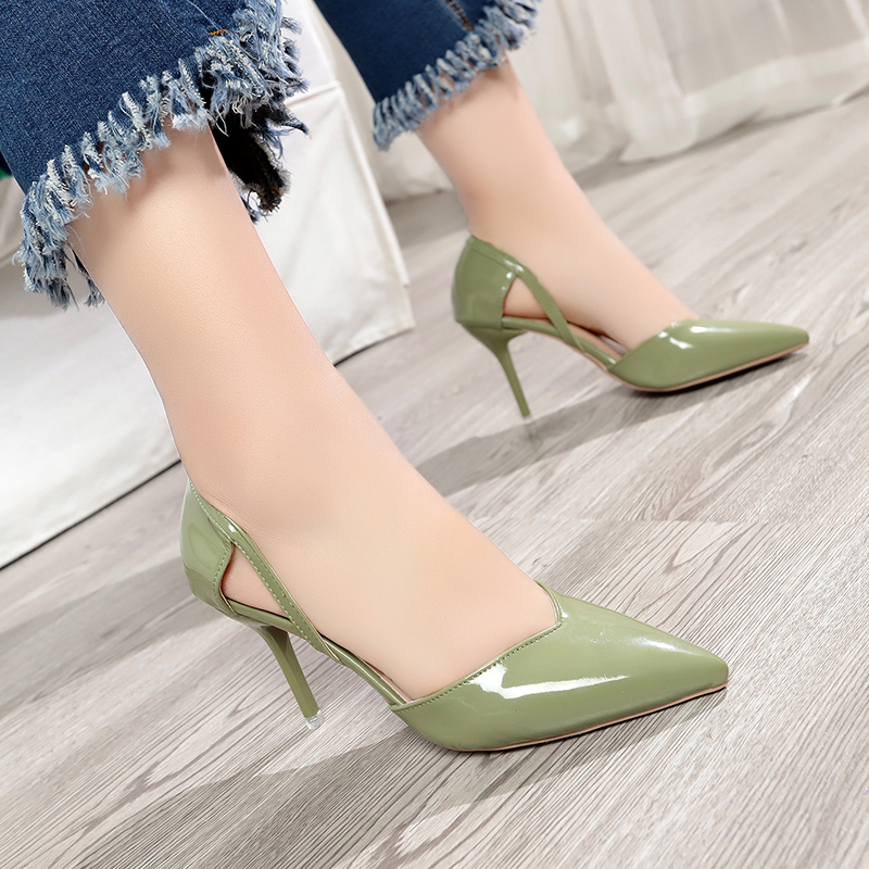 HKJL European and American spring 2019 new women 39 s shoes pointed high heel sandals female hollow shallow single shoes A378 in Women 39 s Pumps from Shoes