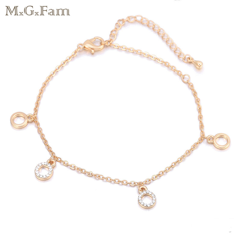 MxGxFam ( 22 cm +5.5cm ) Fashion 18 K Anklet Bracelet Women Crystal Round Shaped For Lead and Nickel Free